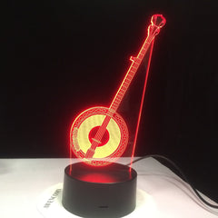 Chinese Banqin Guitar Model Desk Table Lamp Creative Musician Gift 3D Illusion Lamp LED Light for Household Decorate Lamp