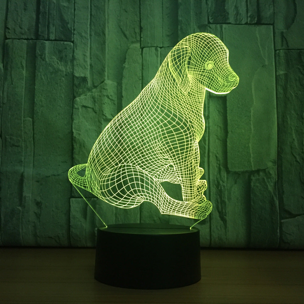 Cute Labrador Dog Lamp 3D Night Light Kids Toy LED 3D Touch Table Lamp 7 Colors Flashing LED Light Christmas Decoration