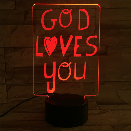 "Sign ""God Loves You""- 3D Optical Illusion LED Lamp Hologram"