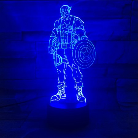 Captain A - 3D Optical Illusion LED Lamp Hologram