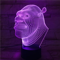 Shrek Face- 3D Optical Illusion LED Lamp Hologram