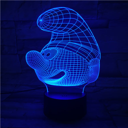 Smurf Face - 3D Optical Illusion LED Lamp Hologram