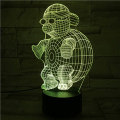 Turtle in Glasses - 3D Optical Illusion LED Lamp Hologram