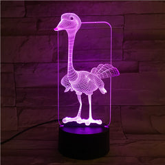 Ostrich - 3D Optical Illusion LED Lamp Hologram