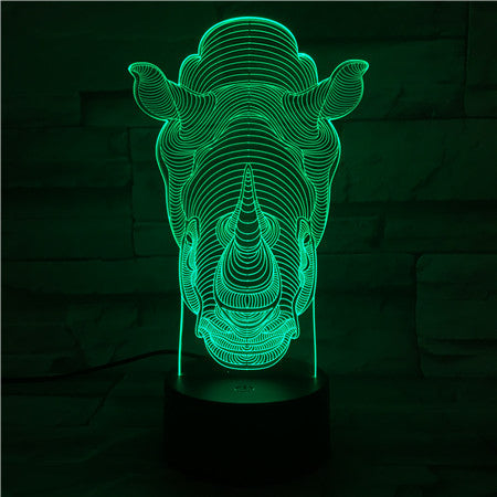 Rhino - 3D Optical Illusion LED Lamp Hologram