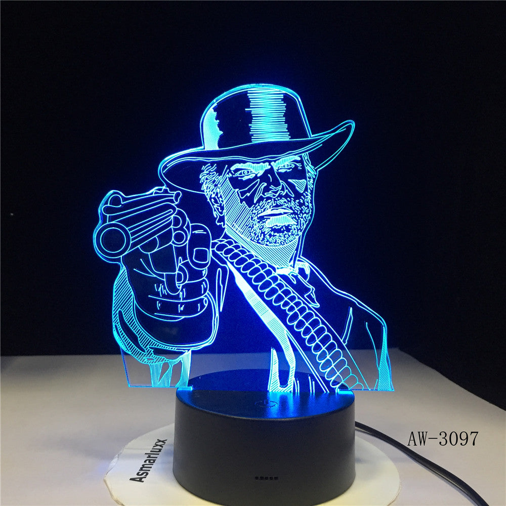 Red Dead Redemption 2 3D Table Lamp Kids Adult LED Colorful Touch Lamp Bedroom Remote Control Night Luminous Game Toys AW-3097