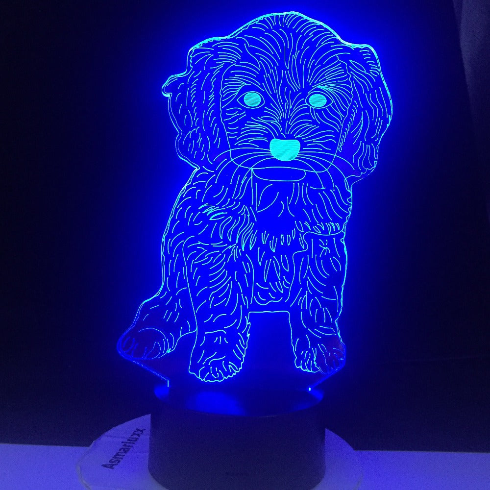 Dog 7 Colors 3D Lamp Changing Night Light Touch Remote Base Gifts For Children Bedroom Decor Acrylic Plate Support USB Charging