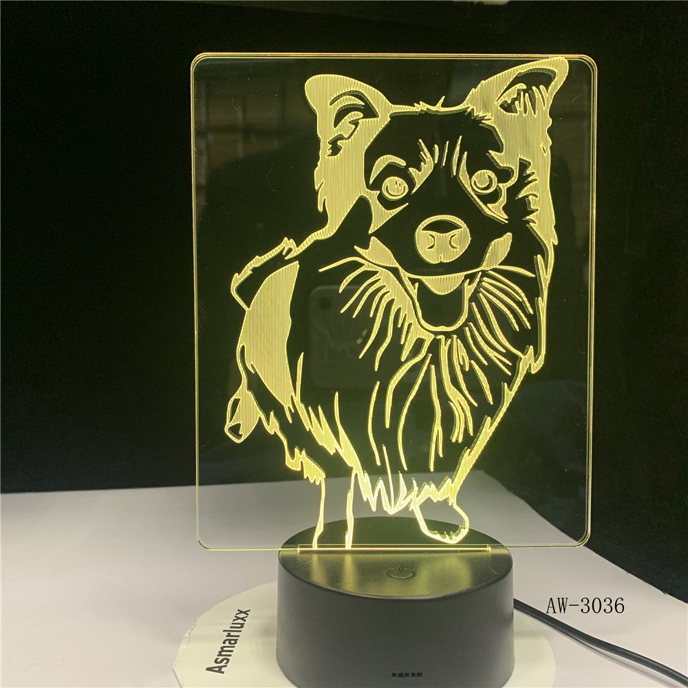7 Colors Changing Shepherd Modelling Desk Lamp Led 3D Dog Night Light Lampara Decor Usb Baby Sleep Lighting Bedside Gift aw-3036