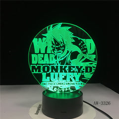 3D Led Vision Anime Luffy Modelling Night Light Usb One Piece Table Lamp 7 Colors Changing Home Decor Light Fixtures AW-3326