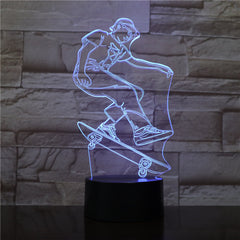 Skateboarding Player Figure 3D LED Visual Lamp for Indoor Room Decor Cool Gift for Kids Child Bedroom Decorative Led Night Light