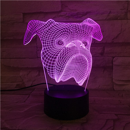 Dog Face - 3D Optical Illusion LED Lamp Hologram
