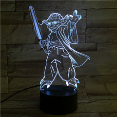 Master Yoda - 3D Optical Illusion LED Lamp Hologram