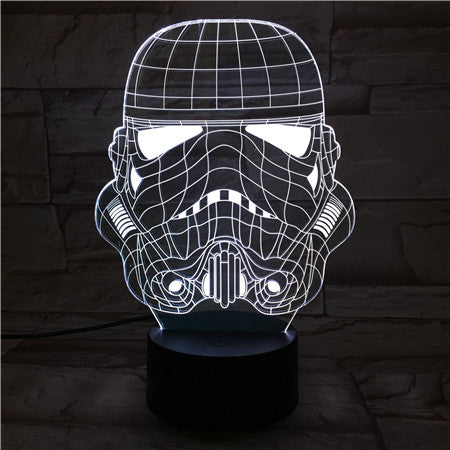 Trooper Mask - 3D Optical Illusion LED Lamp Hologram