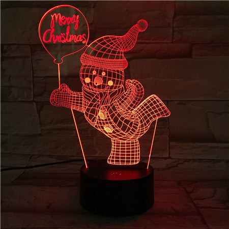 X-Mass Snowman - 3D Optical Illusion LED Lamp Hologram
