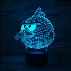 Angry Bird - 3D Optical Illusion LED Lamp Hologram