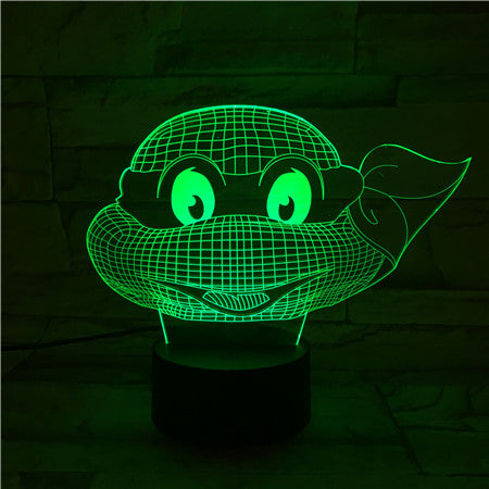 Turtle Face - 3D Optical Illusion LED Lamp Hologram