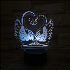 Swans  - 3D Optical Illusion LED Lamp Hologram
