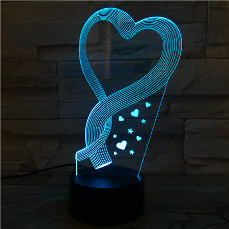 Heart  - 3D Optical Illusion LED Lamp Hologram