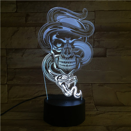Skull with Snake - 3D Optical Illusion LED Lamp Hologram