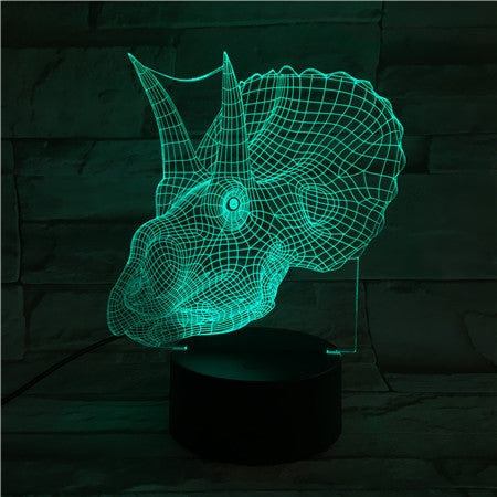 Dino head - 3D Optical Illusion LED Lamp Hologram