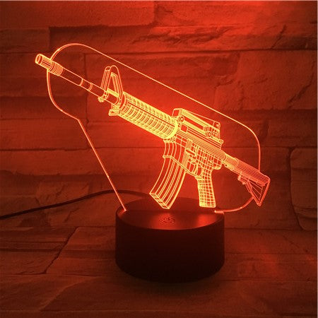 Machine Gun - 3D Optical Illusion LED Lamp Hologram