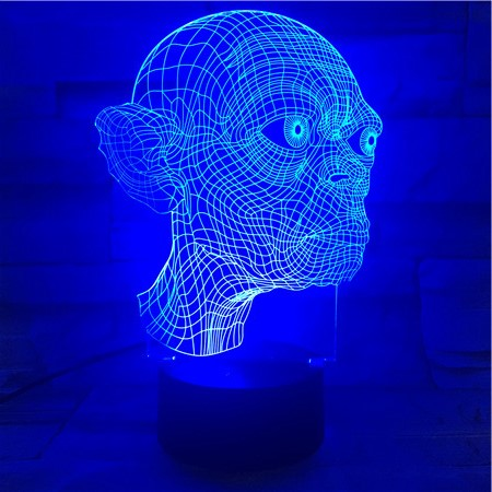 Golum Face - 3D Optical Illusion LED Lamp Hologram