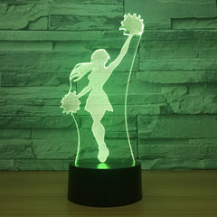 Cheerleader Girl 3D LED Lamp Cool Night Light 7 Colors Visual Sleeping Desk Lamp Home Decor Fixture Novelty Team Match Gifts