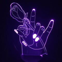 Rose Hands Flower 3D LED Lamp Usb Touch Button Fashion Desk Lamp 7 Color Change Led Home Living Room Lighting Decor Night Light