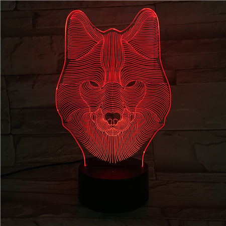 Wolf - 3D Optical Illusion LED Lamp Hologram