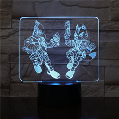Starfox 3D Game Table Lamp USB Touch Sensor 7 Color Changing Action Figure Fox Decorative Lamp Child Kids Baby Gift Night Light