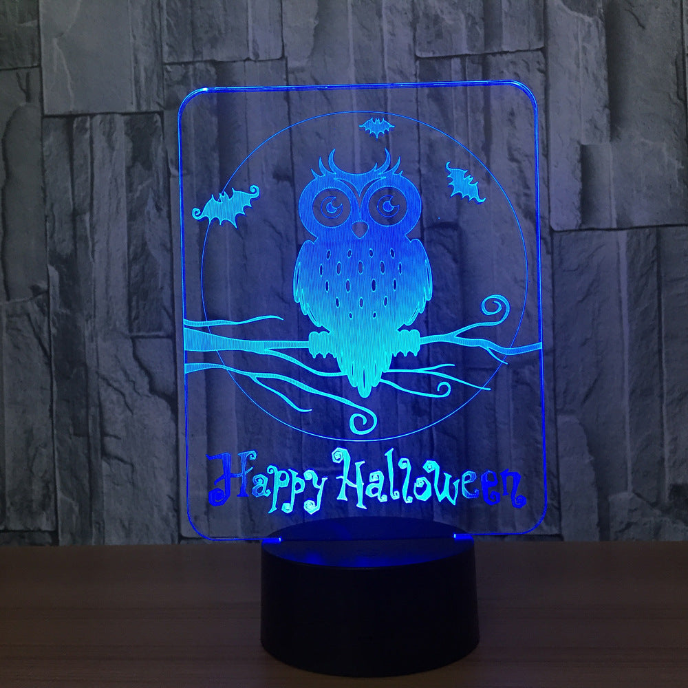 Happy Halloween Owl 3D LED Lamp 7 Colors Visual Led Night Lights for Kids Touch USB Table Lampara Lampe Baby Sleeping Nightlight