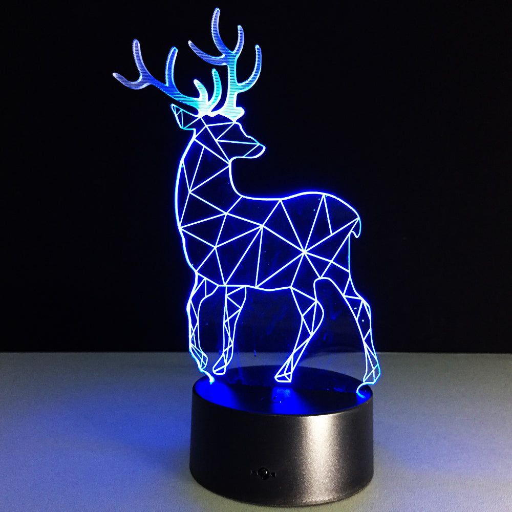 3D Deer Plastic Desk Lamp Table Lights Handcraft LED Night Light Bedroom Christmas Toy 7 Colors Gift USB Plug Drop Shipping