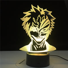 3D4844 Bleach Mask Face LED Night Light Lamp for Kids Bedroom Decoration Nightlight Gift for Children Study Room Decor Light 3D