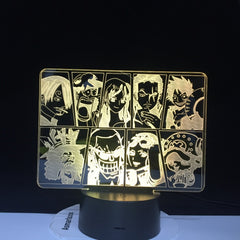 One Piece Cartoon Team Night Light Luffy Sanji Zoro Nami 3D LED Illusion Table Lamp Colors Change Luminaria Touch Lamp AW-731