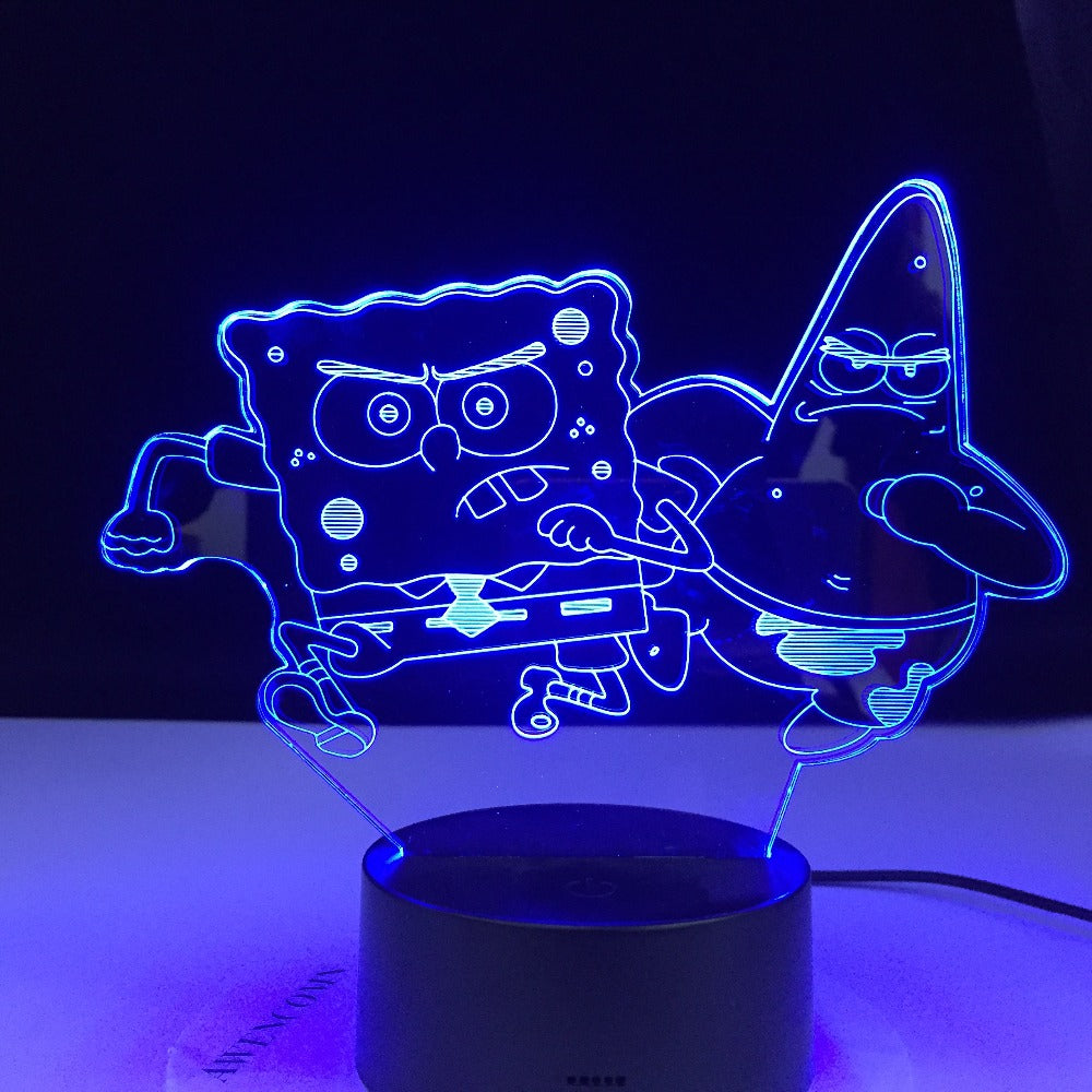 Patrick Star Running 3d lamp Table Lamp Acrylic Creative Decorations Bedroom Sleeping Nightlight Gift Dropshipping