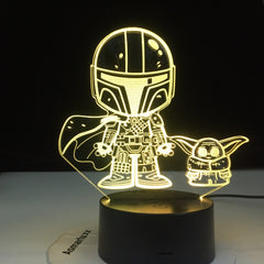 Yoda Marvel Atmosphere Touch Sensor Led Night Light USB Lamp Bright Base 3D Nightlight