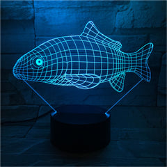 3D Carp Shape Animal 7 Color Changing Night Light Bedroom Bedside Christmas Lamp Light Novelty Fish Lighting 463