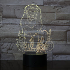 Female Lion 3D LED Night Lights with 7 Colors Light for Home Decoration Lamp Amazing Visualization Optical Illusion Light