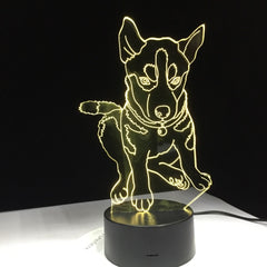 Husky Dog 3D LED lamp 7 Colors Lighting Children's Bedside Sleep Room Table Desk Modelling USB Changing Night Light Decor Gifts