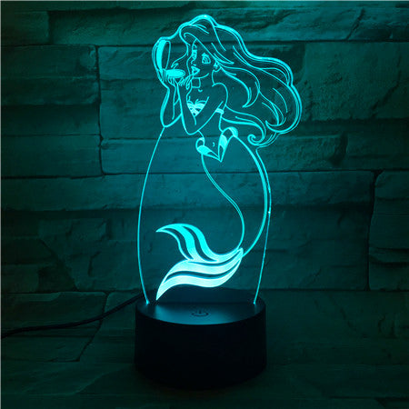 Hot 3D LED Lamp The Little Mermaid Princess 7 Color Changing Baby table Illusion Mood Night Light Home Decor Party Kids Toys 509