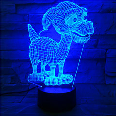 Cartoon 3D Cute Dog Night Lamp 7 Color Change Acrylic Remote Touch Desk Lamp Christmas Decorations For Home 510