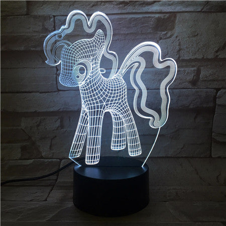 New 3D Night Light Unicorn 7 Color Change Remote Control Cute Dog USB Visual Lampara Baby Desk Lamp Kid Gift 514