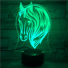 3D Night Lamp Pony Horse 7 Color Change USB Acrylic Small Light Home Atmosphere Lamp For Kids' Toys And Gifts 521