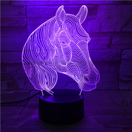 Acrylic Colorful Horse Head Color Changeable 3D LED Touch Remote Control Lamp Novelty Gifts Holiday Home Bedroom Decor 527