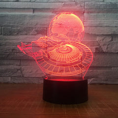 Star Wars Millennium Falcon With Earth 3D LED Lamp Boy Bedroom Night Light Trek Decor Bulbing Kids Toys Child Gift Luminaria