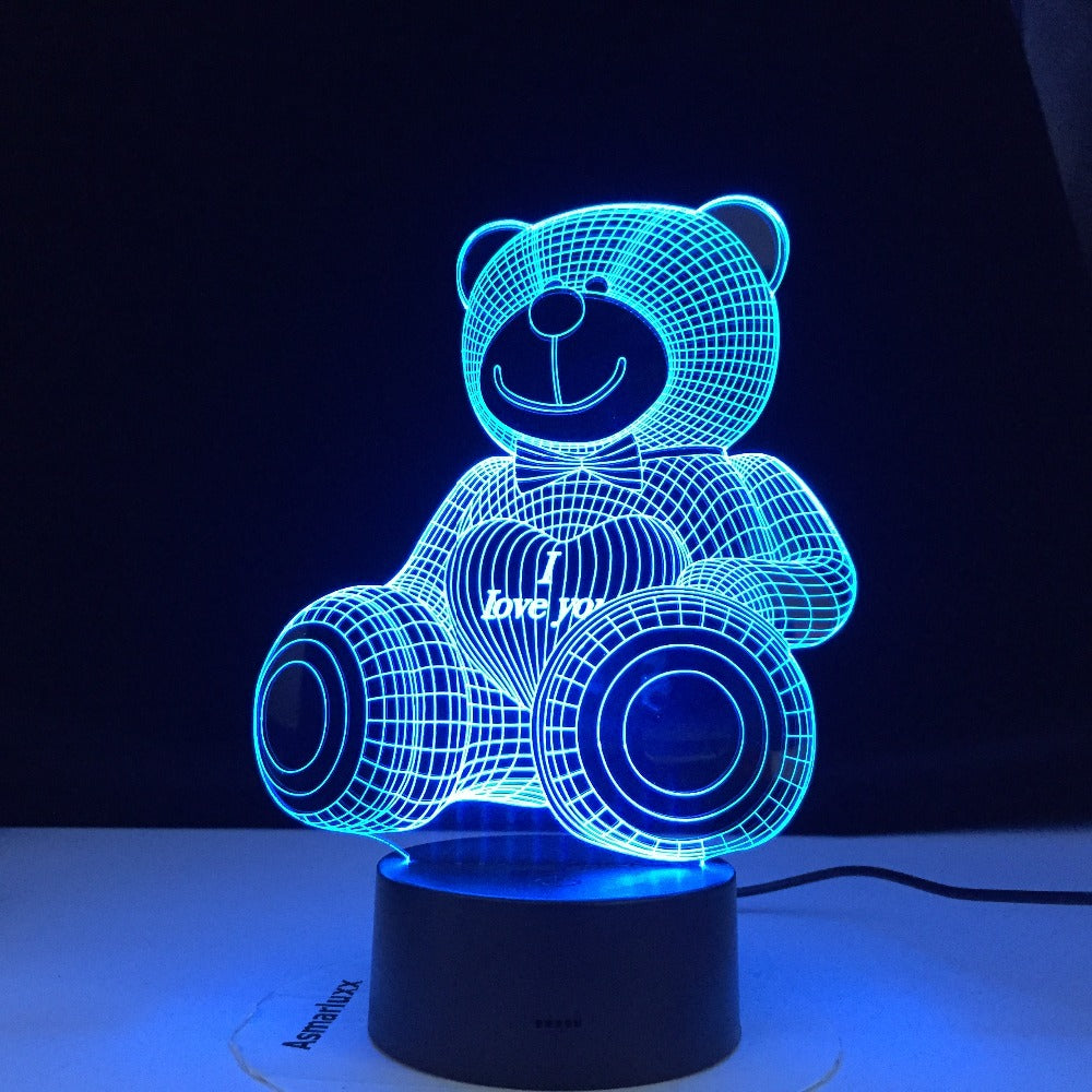 Loving Bear 3d Lamp Colorful Gradual Nightlight Led Touch Gift 3d Vision Table Lamps For Living Room Desk Lamp New Year Deal