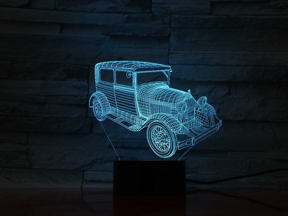 3D1009 Truck Van 3D LED Light Desk Table Halloween Decoration Gift Holiday USB 7 Colors Change Lava Lamp Kids for Father Dad