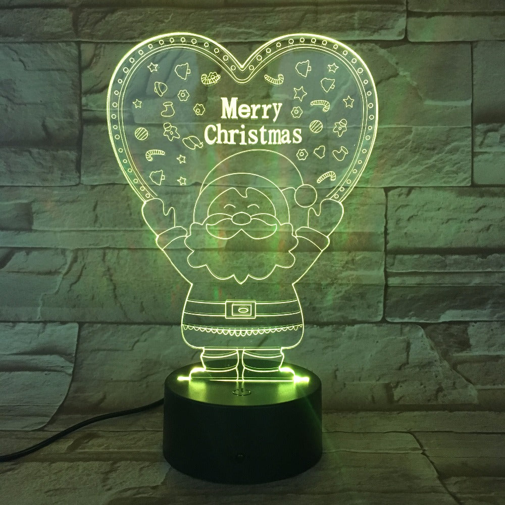 Santa Claus Merry Christmas 3D Effect Lamp LED Table Desk Lamp Home Decor Bedroom Night Light Creative Xmas Gift 7 Colors Touch