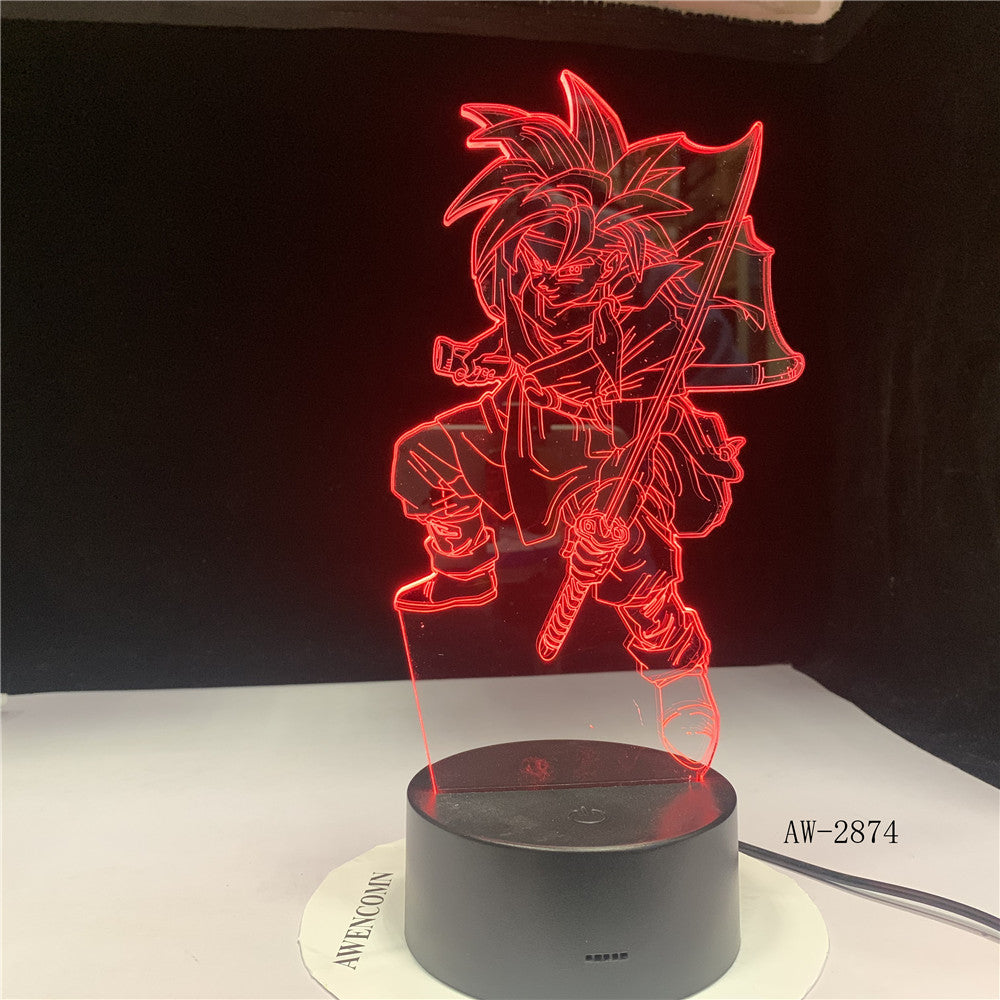 Uchiha Sasuke Modelling Led 3D Table Lamp Anime Home Decor Light Fixture Kids Sleep Naruto Night Light 7 Colors Changing AW-2874