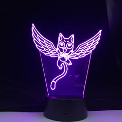 Fairy Tail Cat Happy Fly Figure 3d Led Night Light for Kids Bedroom Decor Led Touch Sensor Color Changing Desk Anime Gift